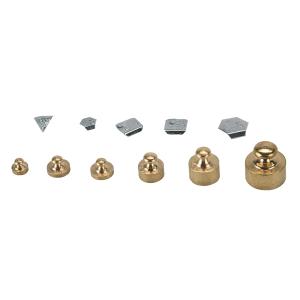 Serie completa Venturini di pesi in ottone lucido e frazioni del grammo in alluminio