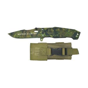 Coltello peighevole da tasca Rui K25 Mohican III verde mimetico rivestito in gomma con lama in acciaio inox