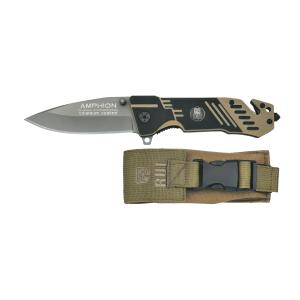 Coltello pieghevole da tasca Rui K25 Amphion beige/nero con lama in acciaio inox rivestita in titanio con tagliacorda e rompivetro