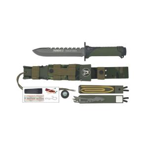 Coltello a lama fissa Rui K25 Thunder II verde/nero con lama in acciaio inox rivestita in titanio e kit di sopravvivenza