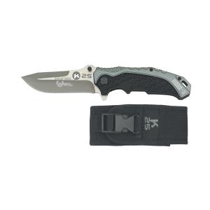 Coltello pieghevole ad apertura assistita Rui K25 silver/nero con lama a filo combinato in acciaio inox rivestita in titanio