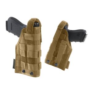 Fondina ambidestra Defcon 5 con aggancio ai jacket o pannello cosciale e sistema MOLLE - Coyote Tan