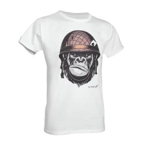 T-Shirt D. Five con scimmia soldato - Bianco