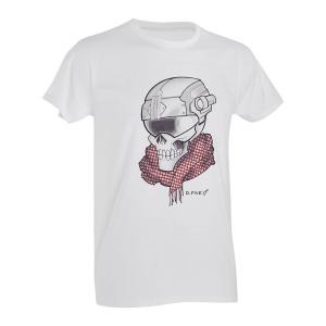T-Shirt D. Five con teschio Mercenario - Bianco