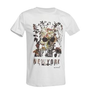 T-Shirt D. Five con teschio e fiori - Bianco